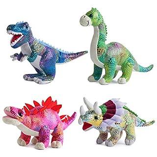 Plush Dinosaur Stuffed Animal Set of 4 Soft Dinosaur Toys for Boys and Girls, 12 Inches Each Stuffed Dinosaur Set Includes Tyrannosaurus Rex, Brachiosaurus, Stegosaurus and Triceratops Dinosaurs