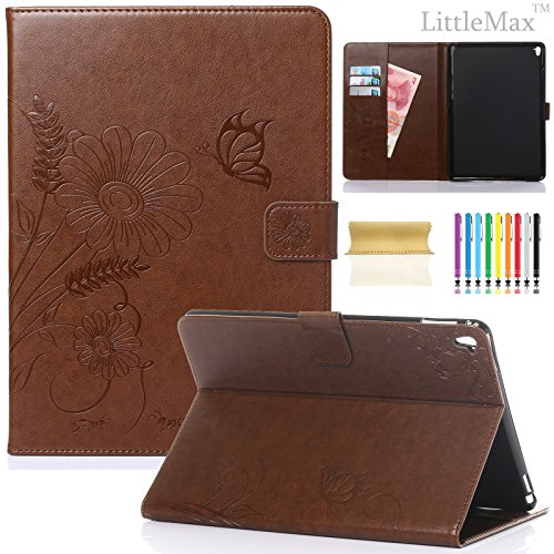 iPad Pro 9.7 Case-LittleMax Embossed Leather Butterfly&Flower Pure Color SeriesMagnetic Closure Stand CaseCards Holder with Auto Wake/Sleep Smart Cover for Apple iPad 9.7 Inch Case-#2Brown by LittleMax