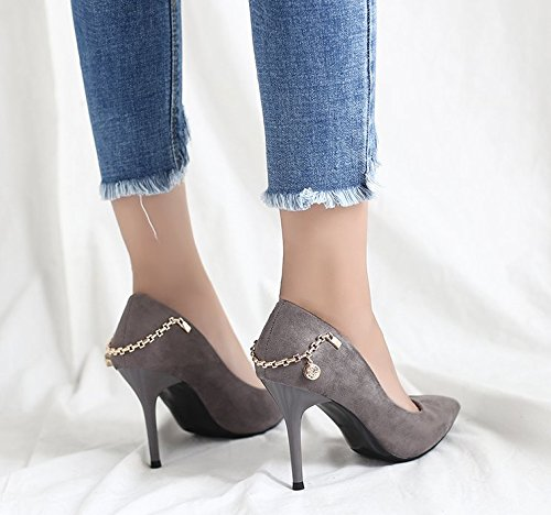 Work Leisure Shoes 8Cm Tip Elegant Suede 36 Heeled Metal A Mouth Fine All Match High With Spring MDRW Shallow Diamond Shoes Lady Chain Grey ECqzOTwtx