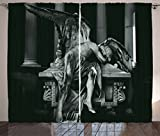 Ambesonne Sculptures Decor Collection, Angel Architecture Monuments Sadness Gothic Mysticism Themed Greek Artwork Print, Living Room Bedroom Curtain 2 Panels Set, 108 X 84 Inches, Black Dimgrey For Sale