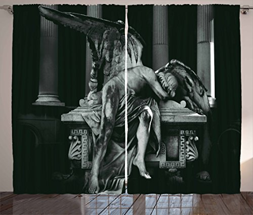 Ambesonne Sculptures Decor Collection, Angel Architecture Monuments Sadness Gothic Mysticism Themed Greek Artwork Print, Living Room Bedroom Curtain 2 Panels Set, 108 X 84 Inches, Black Dimgrey