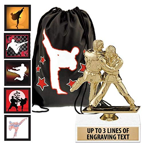 Crown Awards Karate Goodie Bags, Karate Favors for Karate Themed Party Supplies Comes with Personalized Boys Judo Karate Trophy, Set of Karate Stickers and Karate Drawstring 50 Pack Prime by Crown Awards (Image #4)