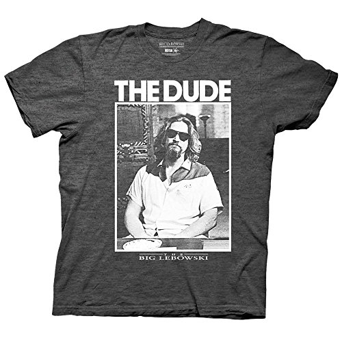Big Lebowski The Dude Black & White Photo Mens T-shirt-Charcoal (X-Large)