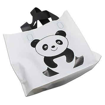 45ac62cc1fa6 Amazon.com: JEWH White Plastic Shopping Bag with Handles - Boutique ...