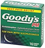 Product review for 4 Packs of 16 Goody's PM Acetaminophen Diphenhydramine Citrate Pain Reliever/ Nighttime sleep aid