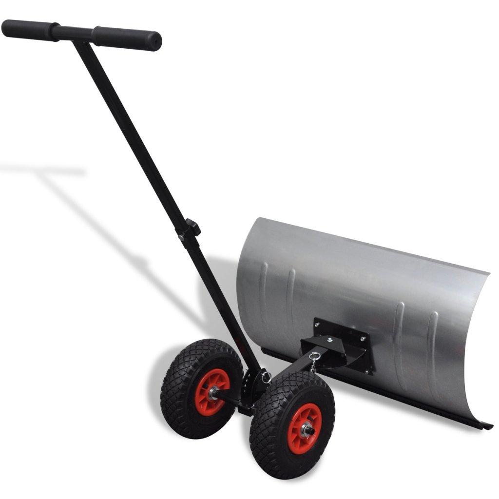 Anself Manual Snow Shovel with Wheels Galvanised Metal