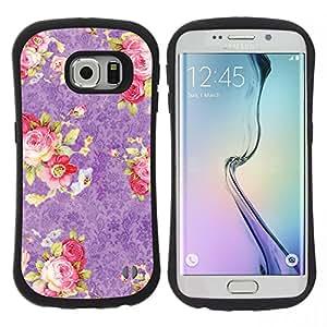 "Hypernova Slim Fit Dual Barniz Protector Caso Case Funda Para Samsung Galaxy S6 EDGE [Pink Roses Wallpaper Vintage Retro""]"
