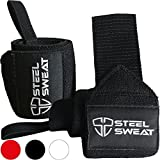Wrist Wraps by Steel Sweat - Best for Weight Lifting, Powerlifting, Gym and CrossFit Training - Heavy Duty Support in Sizes 14' Black