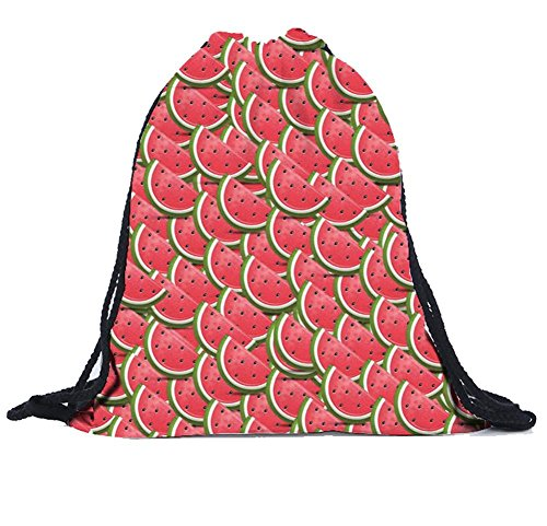 Sagton Unisex Drawstring Backpack Watermelon 3D Print Foldable Travel Shopping Bag For Sale