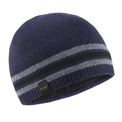 (OMECHY Mens Winter Beanie Hat Warm Cuff Toboggan Knit Ski Skull Cap Navy)