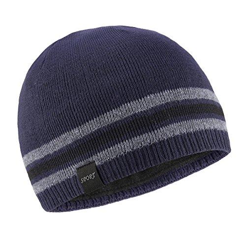 OMECHY Mens Winter Beanie Hat Warm Cuff Toboggan Knit Ski Skull Cap Navy