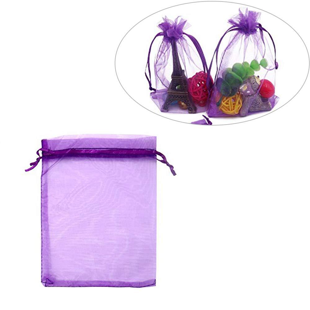 100 PZ Grandi Sacchetti Organza Perline Sacchetto regalo in organza Sacchetti regalo in organza Sacchetti per gioielli Home Storage Bag Sacchetti di caramelle per la festa di nozze 13X18 CM Bianco