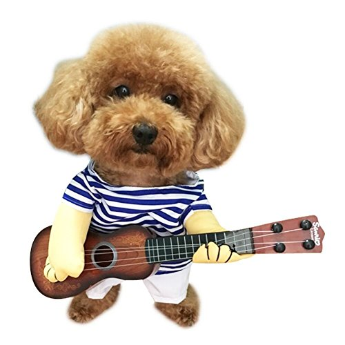 Pety Pet og Clothes Pet Guitar Costume Halloween Cosplay Party Outfit Suit for Dogs&Cats (X-Large, Guitarist) -