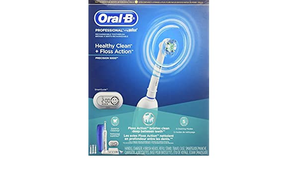 Amazon.com: Oral-b Professional Healthy Clean + Floss Action Precision 5000 Rechargeable Electric Toothbrush with 4 Brush Heads: Health & Personal Care