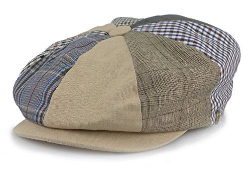 Men's Cotton Applejack Patchwork Snap Brim Newsboy Cap (Medium, Khaki)