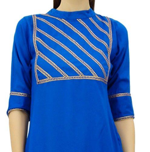 Freizeitkleidung Atasi Indischen Frauen Set Readymade Suit Straight Koenigsblau Beige Baumwolle und YfxwpY