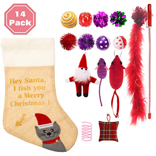 PAWCHIE Christmas Cat Stocking Toys 14 Pcs Cat Toys Set for Kitten Variety Pack (Cat Christmas Toys)