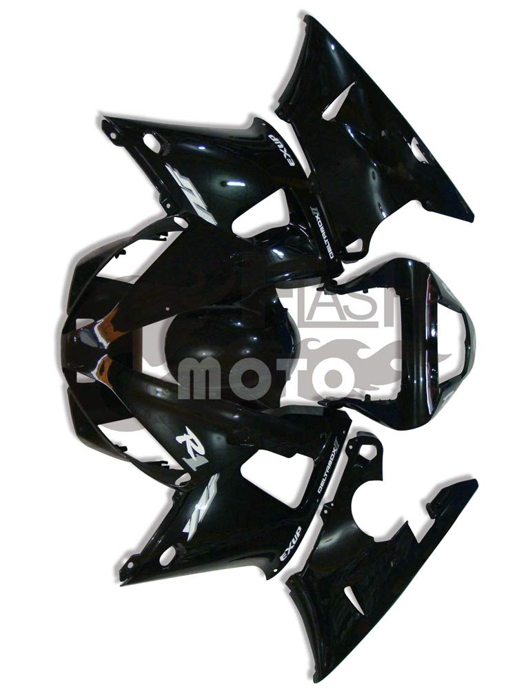 FlashMoto yamaha ヤマハ YZF-1000 R1 2000 2001用フェアリング 塗装済 オートバイ用射出成型ABS樹脂ボディワークのフェアリングキットセット ブラック   B07MNG71HY