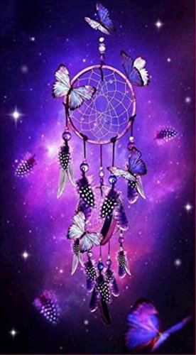 Wall Decor,RNTOP_Home Decor 5D Dream Catcher DIY Diamond Purple Painting Embroidery Cross Craft Stitch Animal Decor Floral Art Wall Sticker For Wall (Purple)