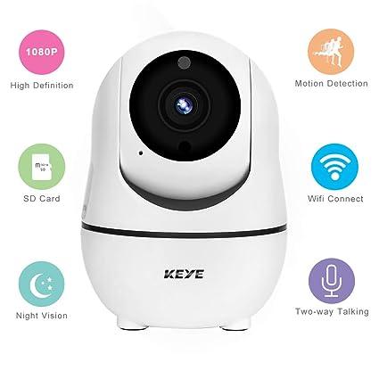 KEYE IP Camara Vigilancia WiFi 1080P Pan/Tilt/Zoom & IR Vision Nocturna con