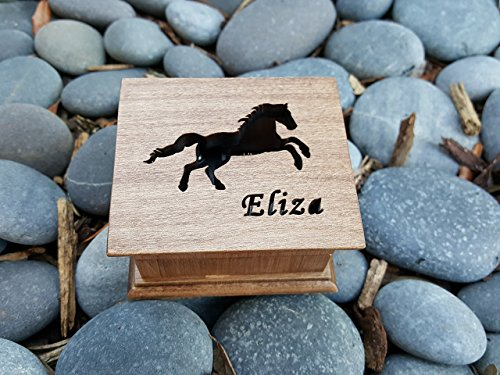 Custom engraved wooden horse music box, personalized with a name on top and for a special request the bottom side of the box as well. Great gift for daughter.