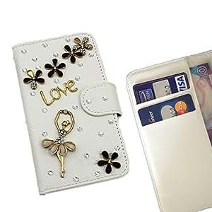 - Ballet Girl Black Flower/ Slot Card Flip Case Cover Skin Bling Rhinestone Crystal Leather - Gaga Case - For Motorola Moto G 2 nd Gen