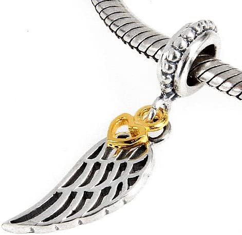 Ailes dange Charms Pendentif avec breloques C/œur Dor/é Argent Sterling 925/Perles pour bracelets Collier Mom Bijoux