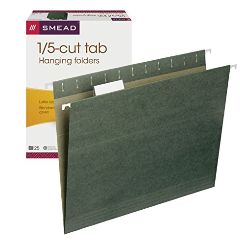 Smead Hanging File Folder with Tab, 1/5-Cut Adjustable Tab, Letter Size, Standard Green, 25 per Box (64055)