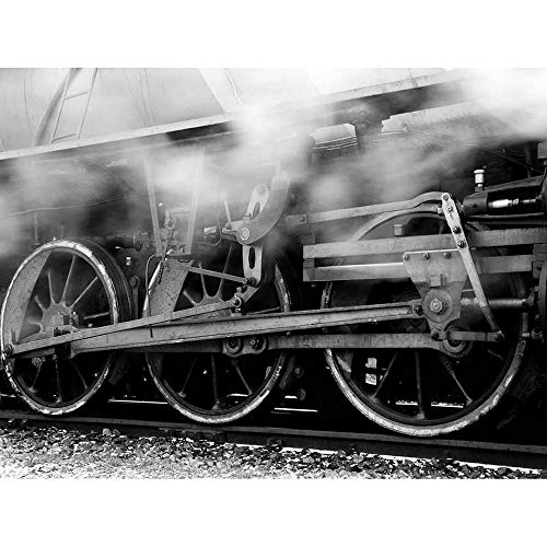Wee Blue Coo Photo Black White Train Rail Steam Locomotive Running Gear Wheel Unframed Wall Art Print Poster Home Decor Premium
