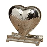 Whole House Worlds The Crosby Street Napkin Holder, Hammered Hearts, Polished Silver Aluminum, From our Everyday Living Collection, 5 1/2 Inches Tall, By