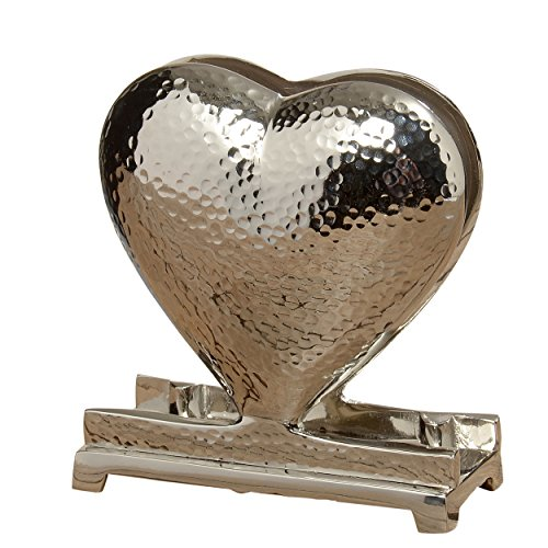 Crosby Street Heart Napkin Holder, Polished Silver Aluminum, Artisan Hammered Metal, From our Everyday Living Collection, 5 1/2 Inches Tall ()