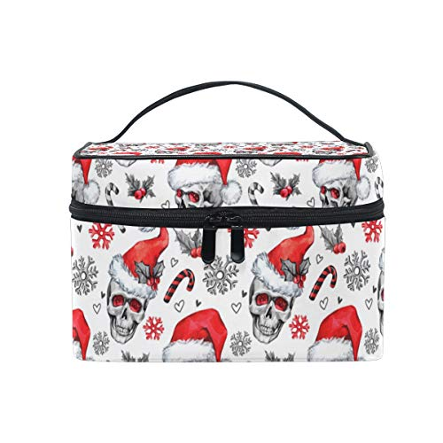 Large Travel Makeup Train Case Christmas Skull Candy Carrying Portable Zip Cosmetic Brush Bag Makeup Bag Organizer for Girls Women
