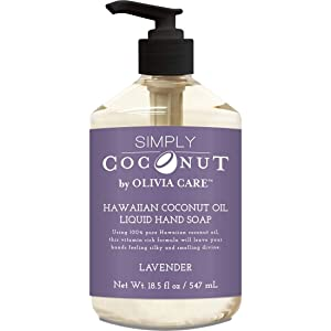 Liquid Hand Soap By Olivia Care - Lavender & Coconut. All Natural - Cleansing, Germ-Fighting, Moisturizing Hand Wash for Kitchen & Bathroom - Gentle, Mild & Natural Scented - 18.5 OZ