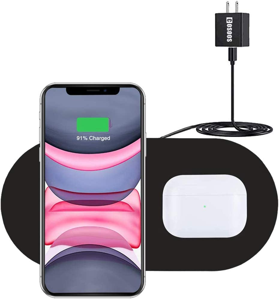 Dual Wireless Charger, COSOOS Qi Certified Fast Wireless Charging Pad Compatible with iPhone 11/11 Pro/11 Pro Max/Xs MAX/XS/XR/X/8/AirPods Pro, Galaxy S20/S10/Note 10/Galaxy Buds +(Adapter Included)