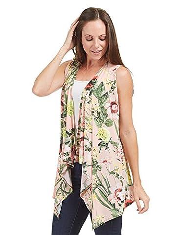 LL Womens WSK1350 Lightweight Print Draped Sleeveless Cardigan XXXL PINK_FLORAL - Draped Sleeveless