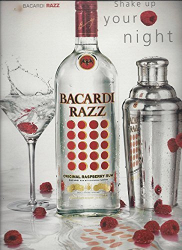 MAGAZINE ADVERTISEMENT For Bacardi Razz Raspberry Rum Shake Up Your Night