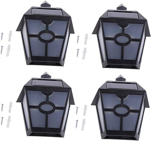 4 Piezas Con Energía Solar Faroles De Pared Lámpara De Luz De Pared Jardín Exterior Cerca De La Puerta Del Patio: Amazon.es: Jardín