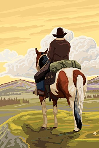 Cowboy and Horse (36x54 Giclee Gallery Print, Wall Decor Travel Poster) ()