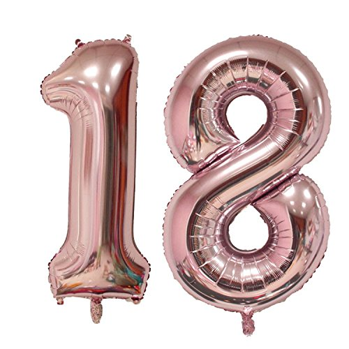 40 inch Jumbo 18th Rose Gold Foil balloons for Birthday Party Supplies ,Anniversary Events Decorations and Graduation Decorations (Rose Gold 18)