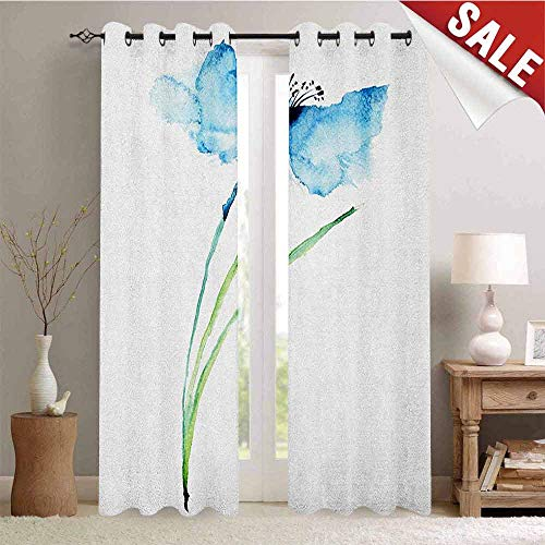 Watercolor Flower, Waterproof Window Curtain, Cornflower Summer Botanic Floral Blooming Plants Artsy Print, Decorative Curtains for Living Room, W72 x L96 Inch Navy Blue White Green