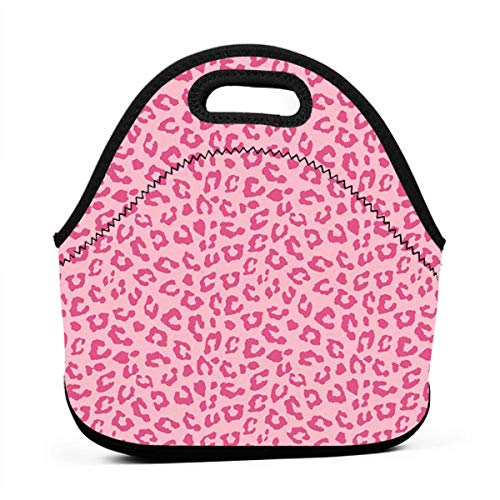 Pink Cheetah Leopard Lunchbox Food Container Container for Kids Boys Girls Toddlers, Work School Picnic Bbq Lunch Organizer Premium Totebag To Keep Food Hot/Cold