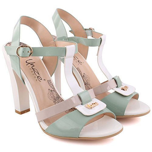T Toe Block Closure Uk Soiree 'caninus' Festival Carnival White Sandals Party Buckle Ladies Unze strap Peep Women 3 8 together Heel Size Get Sling Back High aFpH60qw
