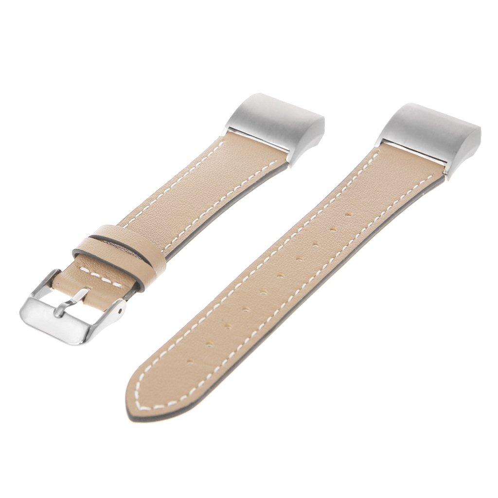 ulkemeレザースマートウォッチバンドストラップwithステンレススチールフレームfor Fitbit Charge 2 B07D3KFT5D AT