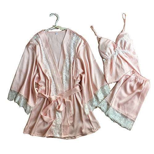 Pink Satin Dress Set - Allshope 3 Pieces Women Sexy Nightgown Sleepwear Dress Satin Pajama 3 Colors (Pink, S)