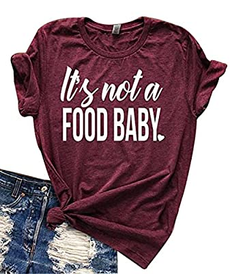 Women Funny It's Not a Food Baby Letters Print T-Shirt Casual Short Sleeve Tee Tops Blouses