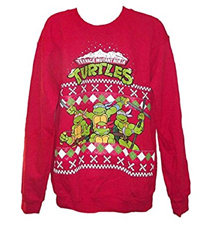 tmnt group red christmas sweater sweatshirt mens me