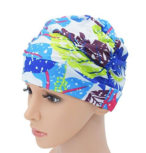 SRYL Swimming Caps Long Hair Nylon Swim Cap Pleated Cloth Fabric Bathing Hats Lycra Beanie Hat for Adult Men Women Y20 - Beanie 09