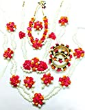Floret Jewellery Mogra Pearl Pink Orange Complete Flower Jewellery Set With 10 Items For Women & Girls (Mehandi/Haldi/Wedding/Bridal)