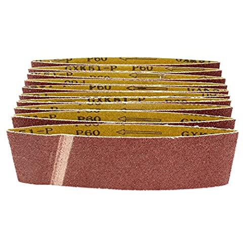 uxcell 3-Inch x 18-Inch 60 Grit Lapped Butt Joint Aluminum Oxide Sanding Belt 10pcs (3x18 Sandpaper)