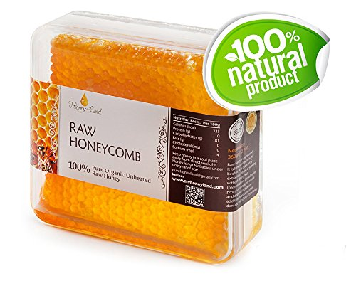 Honey Land 100% Pure Raw Unfiltered Honey Comb Honeycomb Kosher 360gr | 12.6oz NO Pesticides NO Herbicides NO Chemicals or Pollutants, All Natural, vegetarian